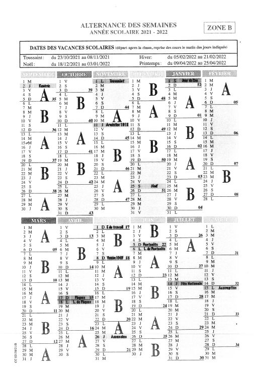 Calendrier Semaines A-B 21-22